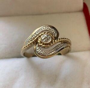 9ct Yellow Gold Diamond Twist Wrap Ring Size O UK Hallmarked
