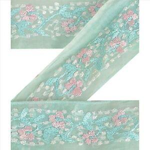 "Sanskriti Vintage Green Sari Border Hand Embroidered 1 YD Craft Trim 1.5""W Lace"