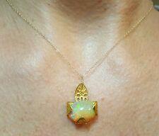 3CT Ethiopian fire opal green flash 14k gold necklace pendant
