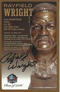 Rayfield Wright Dallas Cowboys  Football Hall Of Fame Autographed Bust Card