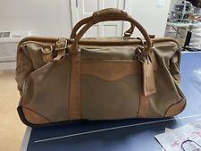 Orvis Vintage Leather and Canvas Duffle Bag on Wheels Travel Luggage Khaki