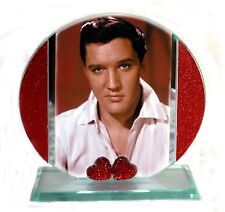 Elvis Presley Cut Glass Round Plaque, Red Hearts  Music Fan Limited Edition  #1