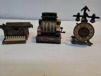 A Lot Of 3 Vintage 1960's Pencil Sharpeners, type writer, cash register, clock
