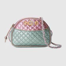 NWT Gucci Trapuntata Mini Laminated Metallic Leather Bag Horsebit Pink Green
