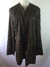 NWT Eileen Fisher Womens XL Brown Long Open Jacket 100% Silk Tussah Bartack