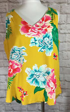 NEW Old Navy Tank Top SZ M Yellow Tropical Floral V-neck Keyhole Back Shirt 7426