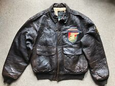 Avirex Type A-2 Brown Leather Pilot Flight Bomber Jacket - Size Large