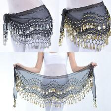 Chiffon Belly Dance Hip Scarf Wrap Sequin Waistband Belt Skirt Gold/Silver Coins