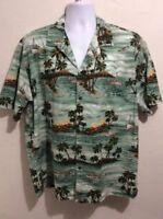 Mens Aloha Republic Hawaiian Shirt Palm Trees, Cruise Ships, Planes, Volcanos XL