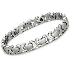 Women Stainless Steel Magnetic Therapy Germanium Infinity Heart Bracelet Bangle