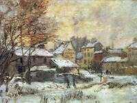 CLAUDE MONET SNOW AT SUNSET ARGENTEUIL IN SNOW OLD ART PAINTING PRINT 608OMA
