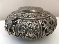 Antique KUTCH indian Silver Box/ Vase, In Style Of Oomersy Mawji & Sons