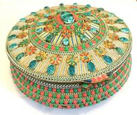 Rare Vintage Mosaic Egyptian Revival Large Scarab Brass Jewellery / Sewing Box