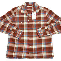 RM Williams Mens Camp Collar Long Sleeve Plaid Work Shirt Red Blue Beige Size L