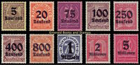 EBS Germany 1923 Hyperinflation Official set Dienstmarken Michel D89-D98 MNH**