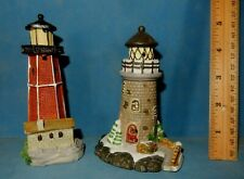 "Lot Of 2 Lighthouses Ceramic Figurines 5"" Light House 1 Christmas"