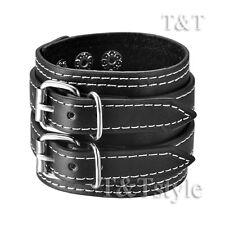 T&T Punk Black Leather THICK Bracelet Wristband (PK14)