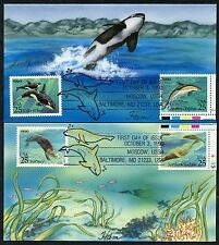 """#2508-2511 (2) DIFF. """"DOLPHINS"""" FDC HAM HAND PAINTED CACHET BP0893"""
