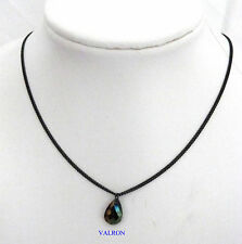 "BLACK 18"" NECKLACE CHAIN WITH 12 mm FACETED TEARDROP PENDANT"