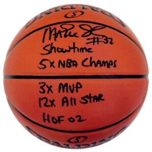 Magic Johnson Autographed NBA Spalding Indoor/Outdoor Stat Basketball ASI Proof