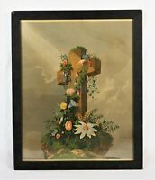 Antique 19th C Lithograph Print Religious Cross George Stinson Portland Maine