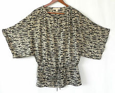 Michael Kors Top Batwing Chiffon Loose Fit Tie Waist Size M