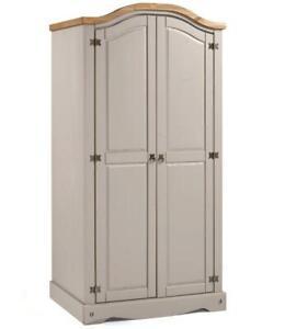 Corona Wardrobe Grey 2 Door Arch Top Wax Solid Pine Bedroom Mercers Furniture®