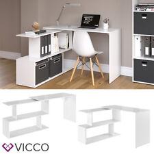 VICCO Eckschreibtisch LEVIA Weiß Hochglanz - PC Tisch Arbeitstisch Computer Büro