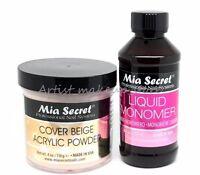 Mia Secret Cover Beige Acrylic Nail Powder 4 oz & 4 oz Monomer Set - Made in USA