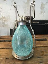 SEAGLASS BEACH STYLE CANDLE LANTERN WITH WOOD HANDLE STEEL ACCENTS