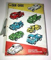 Vintage 1960's Tootsie Toy Miniature Vinyl Car Case filled w/ 15 Cars & Trucks