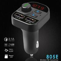 805E Bluetooth 5.0 FM Transmitter Handsfree Auto Car Kit MP3 Player USB Charger