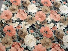 60's 70's VINTAGE Upholstery Fabric Shabby Large Pink Peach Roses Chic Beige
