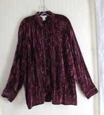 CJ Banks -Sz 2X Plum Purple Crushed Art Funky Velvet Romantic Jacket Blouse Top