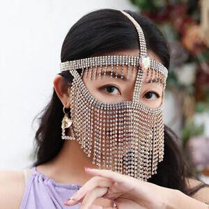 Arabic Indian Egypt Headwear Belly Dance Turkish Chain Face Mask Veil Dancing