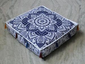 Square Blue Floral Mandala Pillow Cover Floor Decorative Box Cushion Cover