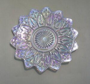 "Vintage Federal Carnival Glass Iridescent Star Shape Flower Petals Plate 9 1/4"""