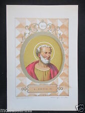 1879 SAN SISTO III XYSTUS ANTICA STAMPA CROMOLITOGRAFIA PAPA PAPI POPE D247 m