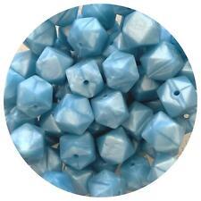 10 silicone beads ROYAL BLUE 14mm mini hexagon BPA free sensory necklace bright