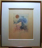 Gravur Radierung Farbig Vogel Surrealistisch Sign Renée Lubarow 17,5 x 14,5cm