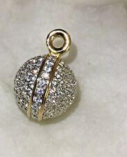 Swarovski Pave Round Disco Ball Pendant Necklace ~Signed Swan