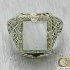 Vintage Estate Solid 14k White Gold Filigree Square Moonstone Cocktail Ring
