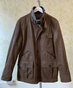 M&S BLUE HARBOUR brown leather field jacket 100% mallalieus wool lined L pockets