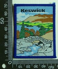 VINTAGE KESWICK ENGLAND EMBROIDERED SOUVENIR PATCH WOVEN CLOTH SEW-ON BADGE