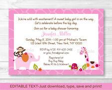 Sweet Safari Girl Jungle Animals Printable Baby Shower Invitation Editable PDF
