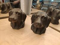 Pair of Vintage Dog Head Bookends Bronze Brass