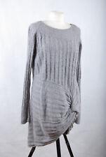 P516/74 Star Julien Macdonald Grey Angora/Cotton Blend Knitted Tunic Dress UK16
