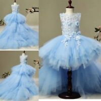 Hi-Lo Flower Girl Dresses Detachable Train Toddlers Pageant Dress Teen Kids Blue
