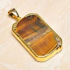 "Handmade Natural Golden Tiger's Eye Gemstone Pendant 2"" #P17299"