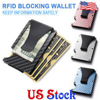 Metal Wallet Slim Carbon Fiber Credit Card Holder RFID Blocking Money Clip Purse